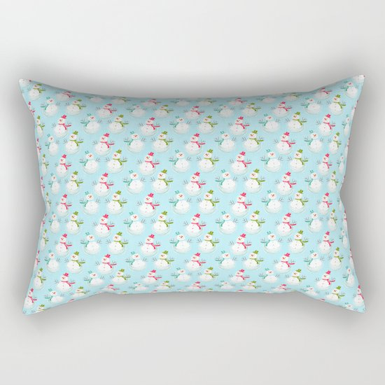 Merry christmas! Beautiful snowman pattern on aqua backround Rectangular Pillow