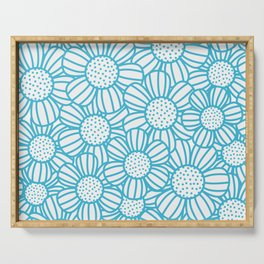 Field of daisies - teal Serving Tray