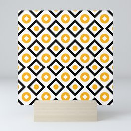 Sun yellow pattern of rhombuses and circles Mini Art Print