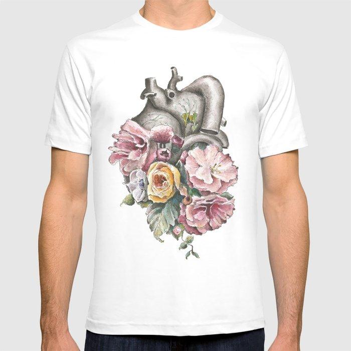 Floral Anatomy Heart T-shirt by trishathompson | Society6