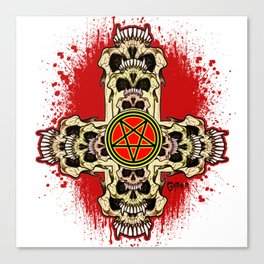Inverted Cross Pentagram Canvas Print