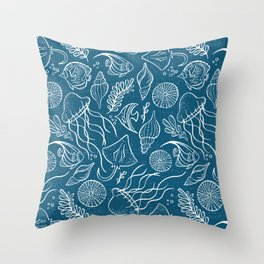 Sea Life - Marine Blue Throw Pillow