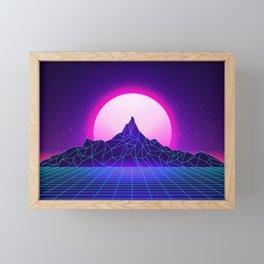 Retro Vaporwave Mountain Framed Mini Art Print