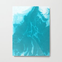 Asi - modern minimal abstract original painting watercolor japanese marble paper marbling Metal Print