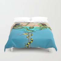 martini Duvet Covers featuring Frog Martini by Dino Turull