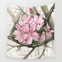 cherry blossom Wall Tapestries featuring Cherry Blossom by Olechka