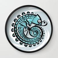 chameleon Wall Clocks featuring chameleon by Erdogan Ulker