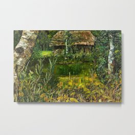 Birch Trees on the Lake landscape painting by Emilie Mediz-Pelikan Metal Print