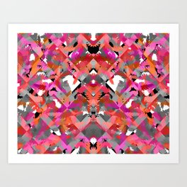 Feather Grey Red Art Print