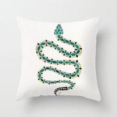 Emerald & Gold Serpent Throw Pillow