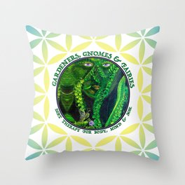Pastel Petals Garden Gnome Fairy Flower of Life Throw Pillow