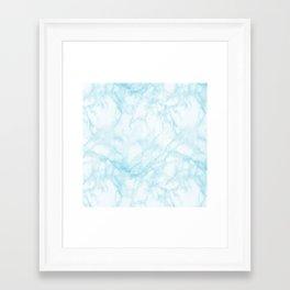 Elegant pastel blue white modern marble Framed Art Print