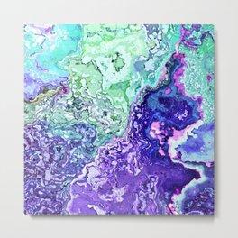 mint turquoise purple indigo marbled abstract digital painting Metal Print