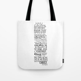Hail Holy Queen Prayer (black text) Tote Bag