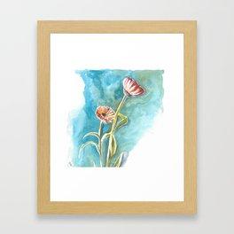 Blooms on Turquoise Framed Art Print