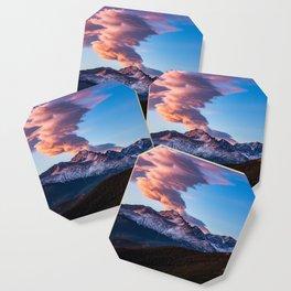 Fire on the Mountain - Sunrise Illuminates Cloud Over Longs Peak in Colorado Coaster