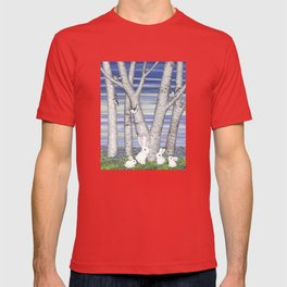 nuthatches, bunnies, and birches T-shirt