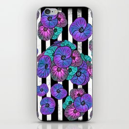 Florals over black and white stripes iPhone Skin