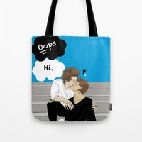 "okay Tote Bags featuring "" Okay? Okay. "" by Karu Kara"