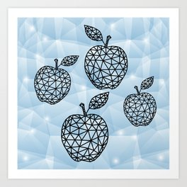 Abstract triangle apples with background Art Print
