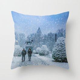 Snow in Boston Throw Pillow