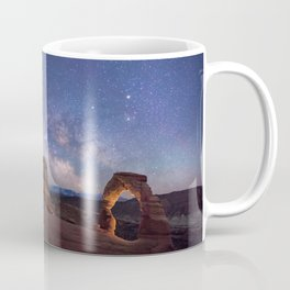 Delicate Arch Under the Starry Sky in Arches National Park Panorama Coffee Mug