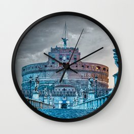 Sunrise over Ponte Sant'Angelo and Castel Sant'Angelo in Rome, Italy Wall Clock