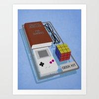 kit king Art Prints featuring Geek Kit by Bakus