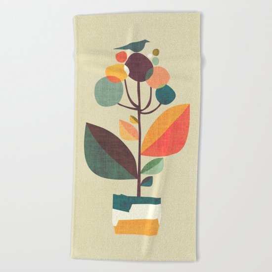 Potted plant with a bird Beach Towel