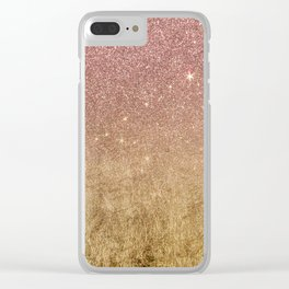 Pink Rose Gold Glitter and Gold Foil Mesh Clear iPhone Case