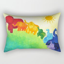 Elephant Rainbow Rectangular Pillow