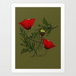 Poppies Botanic pattern Art Print