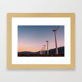 California Desert Windmills at Sunset with Mountain Vistas Framed Art Print