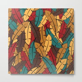 Modern colorful abstract feathers in autumn colors Metal Print
