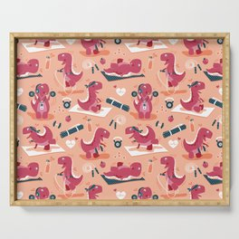 Fitness exercises for a dino // coral background red t-rex dinosaurs Serving Tray