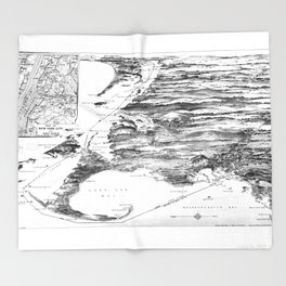 Vintage Cape Cod and NYC Steamboat Route Map BW Throw Blanket