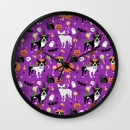 Boston Terrier Halloween - dog, dogs, dog breed, dog costume, cosplay cute dog Wall Clock