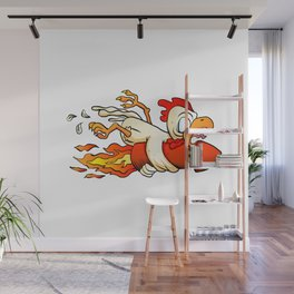 chicken on the rocket. Wall Mural