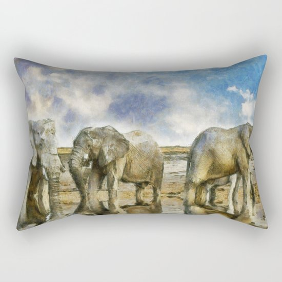 Elephants Drinking Rectangular Pillow