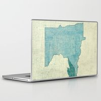 minnesota Laptop & iPad Skins featuring Minnesota State Map Blue Vintage by City Art Posters