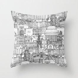 Edinburgh toile black white Throw Pillow