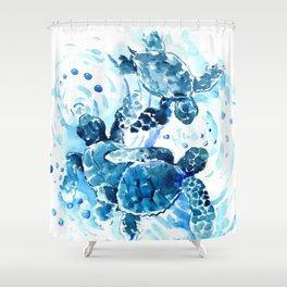 Three Sea Turtles, blue bathroom turtle artwork, Underwater Shower Curtain