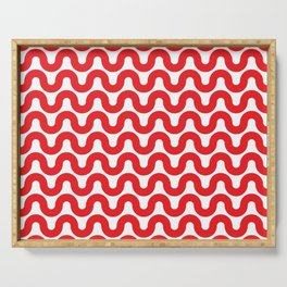 Wavy in Red Serving Tray