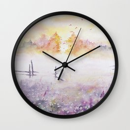 Early Morning Mist Watercolor Painting Wall Clock
