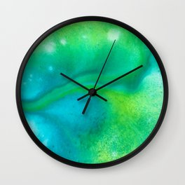 Abstract in Blue Green Wall Clock