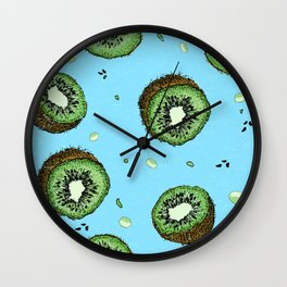 Summer Time Blue Kiwi Pattern with Texture Wall Clock