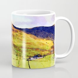 Looking Down to Buttermere Valley, Lake District, UK.  Watercolor Painting Coffee Mug