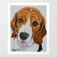 beagle Art Prints featuring Beagle by Megan Cohen