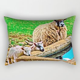 Thirsty Lambs   Rectangular Pillow