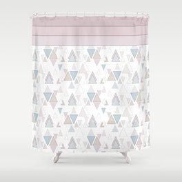 Geometric pattern , pastel triangles Shower Curtain